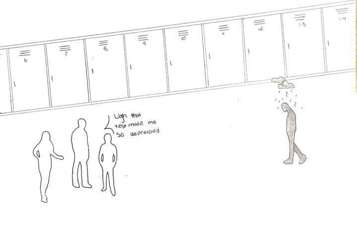 cartoon image of students talking about a test that made them depressed next to someone who is really depressed.