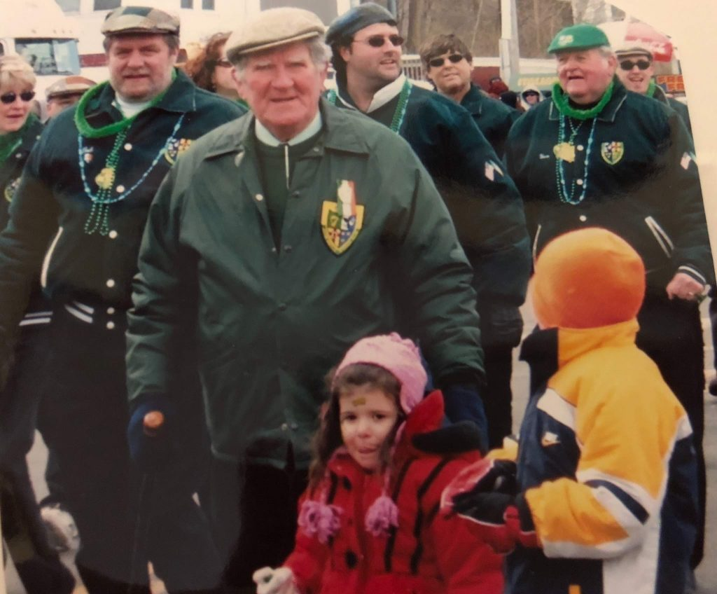 Images of an LHS student Irish dancing, and an Image of her grandfather in an Irish parade