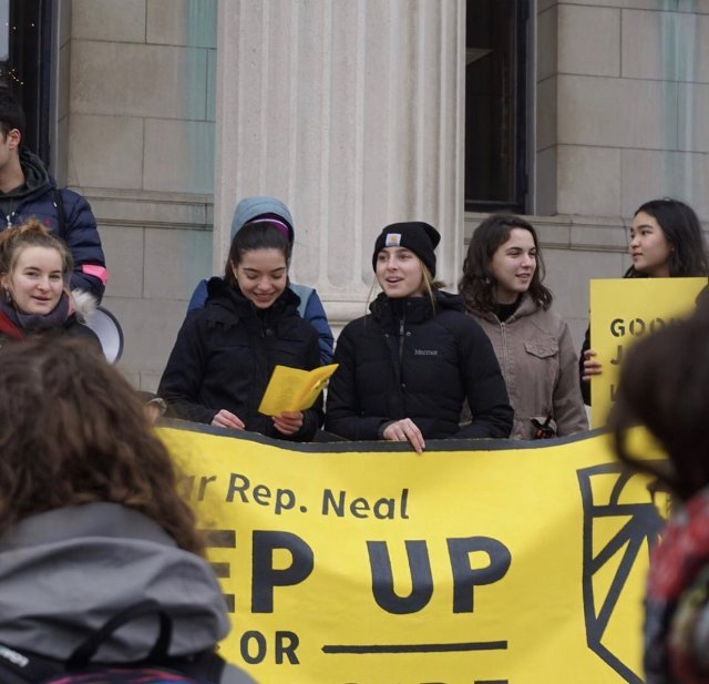 Students protest in front of Springfield City Hall in support of the Green New Deal