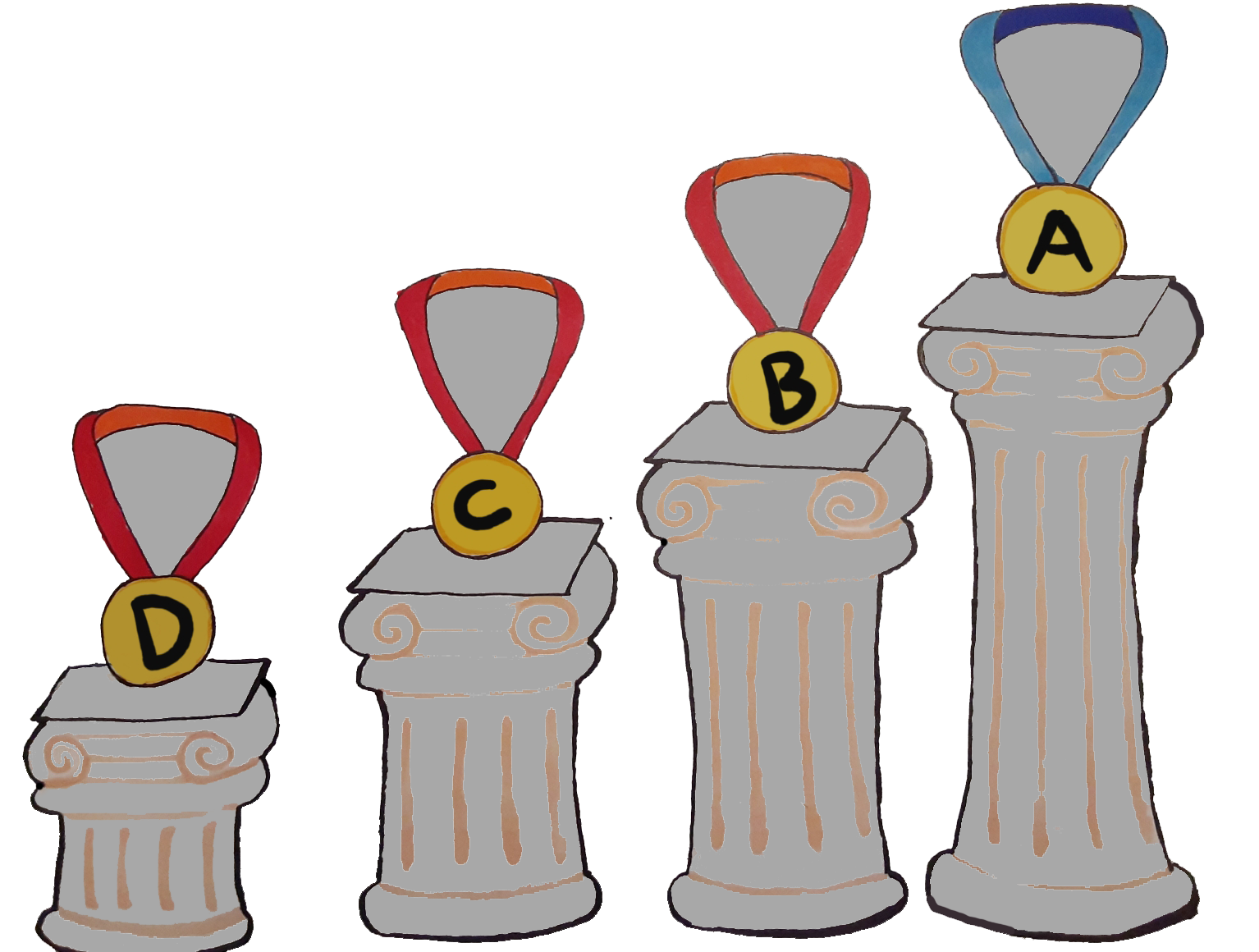 Medals from tallest to shortest with grades printed on them.