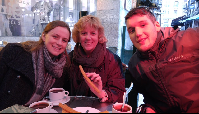 Mrs. Koziol, Mrs. Ferreira, and Mr. Framarin on the Spain trip in 2016. They are eating churros in Madrid!