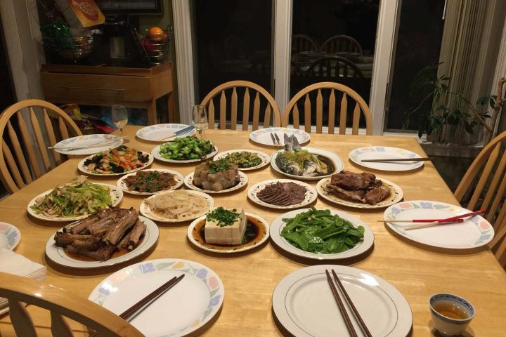 Picture of a traditional Chinese New Year's Dinner